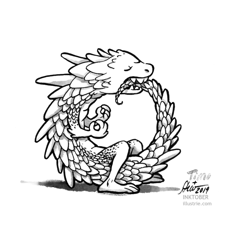 Inktober Illustration 2019, Drache, der einen Ring bildet