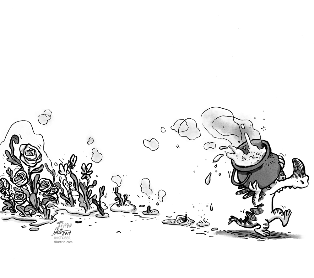 A small dragon is dragging a pot of magic potion, from which a few drops pour out. In the potion puddles, roses grow out. Black and white drawing for the Inktober-Challenge 2019. // Ein kleiner Drache schleppt einen Topf mit Zaubertrank, aus dem ein paar Tropfen auskippen. In den Zaubertrank-Pfützen ranken Rosen hervor. Schwarz-weiss-Zeichnung für die Inktober-Challenge 2019.