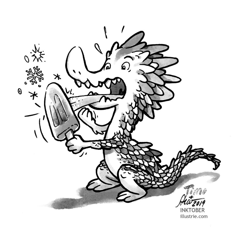 A dragon sucks an ice cream and his tongue freezes on the ice. Black and white drawing for the Inktober-Challenge 2019. // Ein Drache lutscht ein Eis, dabei friert seine Zunge am Eis fest. Schwarz-weiss-Zeichnung für die Inktober-Challenge 2019.