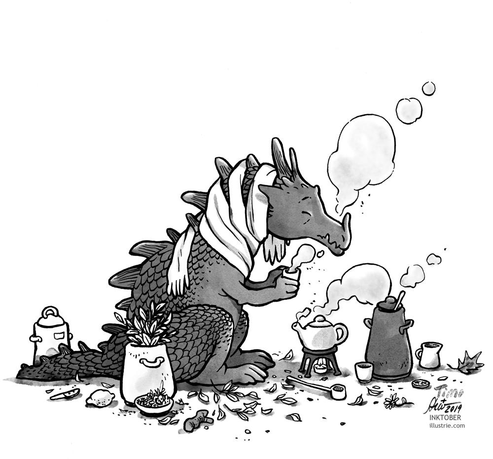 A dragon with a cold prepares himself a tea, around his neck he wears a scarf. Black and white drawing for the Inktober-Challenge 2019. // Ein erkälteter Drache bereitet sich einen Tee zu, um den Hals trägt er einen Schal. Schwarz-weiss-Zeichnung für die Inktober-Challenge 2019.