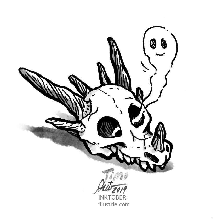 Dragon skull, from whose eye socket a small ghost rises. // Drachenschädel, aus dessen Augenhöhle ein kleines Gespenst empor schwebt. 77 Black and white drawing for the Inktober-Challenge 2019. // Schwarz-weiss-Zeichnung für die Inktober-Challenge 2019.