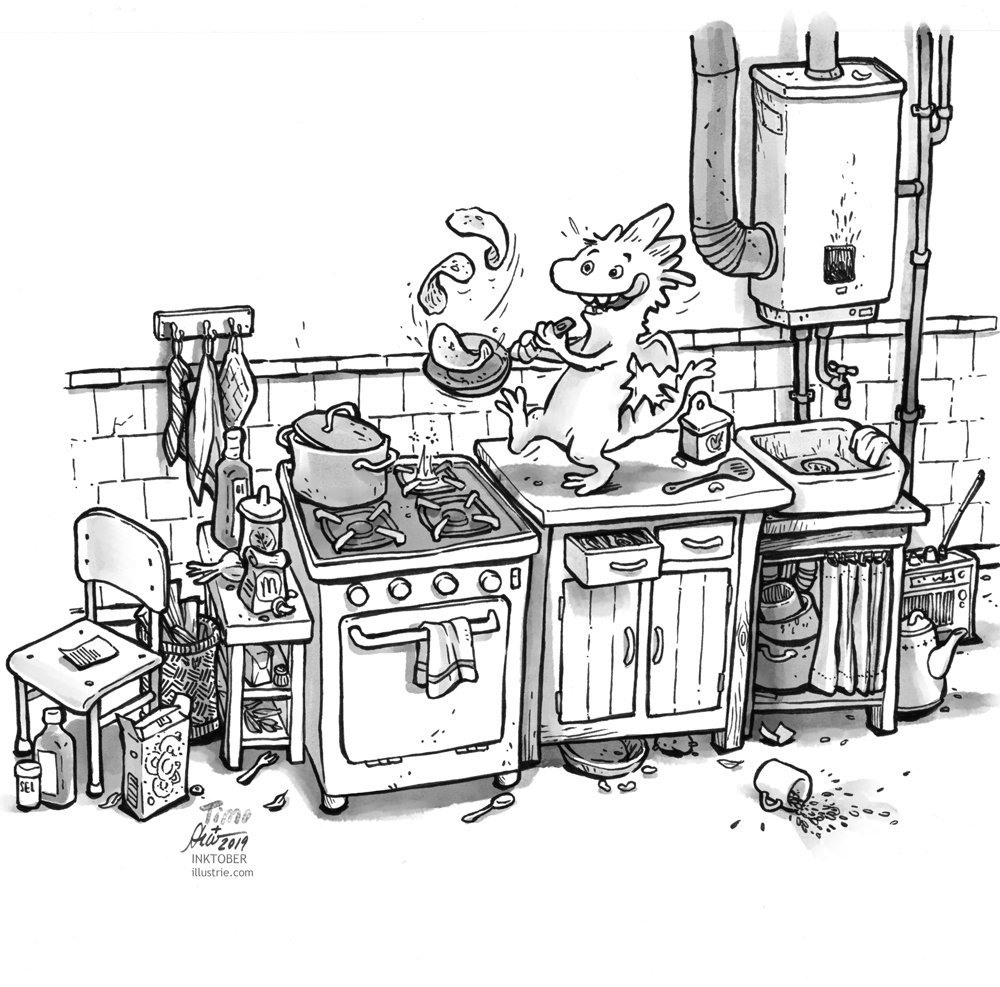 Ein kleiner Drache backt in einer altmodischen Küche Pfannkuchen. Schwarz-weiss-Zeichnung für die Inktober-Challenge 2019. // A little dragon bakes pancakes in an old-fashioned kitchen. Black and white drawing for the Inktober-Challenge 2019.