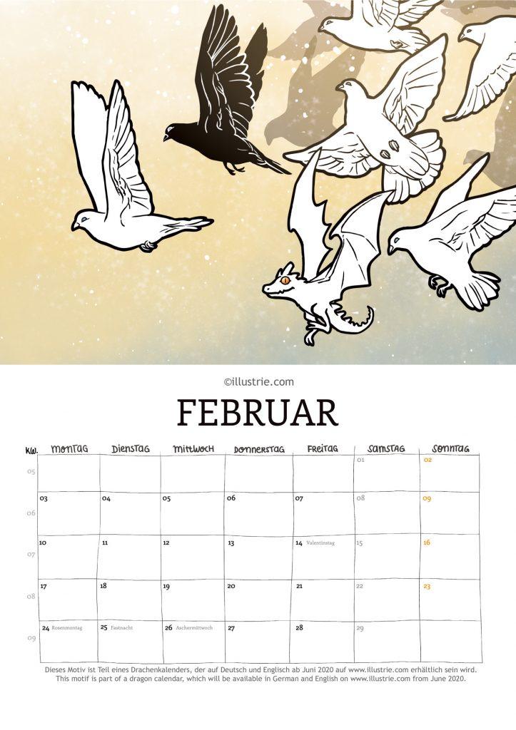 Ein kleiner Drache fliegt unerkannt in einem Vogelschwarm mit, Fantasy-Illustration. Dieses Motiv ist Teil eines Drachenkalenders, der ab Juni 2020 auf www.illustrie.com erhältlich sein wird. // A small dragon flies unrecognized in a flock of birds. Fantasy illustration. This motive is part of a dragon calendar, which will be available from June 2020 on www.illustrie.com.