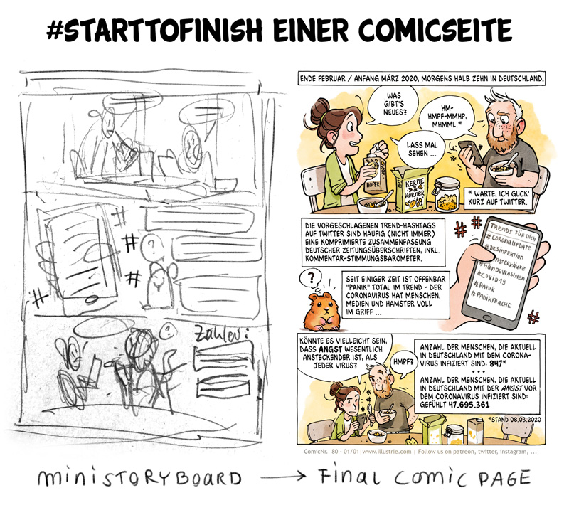 Making-of einer Comic-Seite vom ersten Mini-Storyboard bis zur finalen Artwork . #comic #drawing #digitalart #wiezeichneicheineComicseite #learnhowtodrawacomic #illustration #art #characterdesigns #nerd #comicstyle #geek #zeichnen #illustrator #artwork #sketch #dessiner #comicpage #skizze #storyboard #comicdiary #autobiocomic #webcomic #bandedessinée #makingof #Zeichnung #Comicseite #layout #coronavirus #hamster