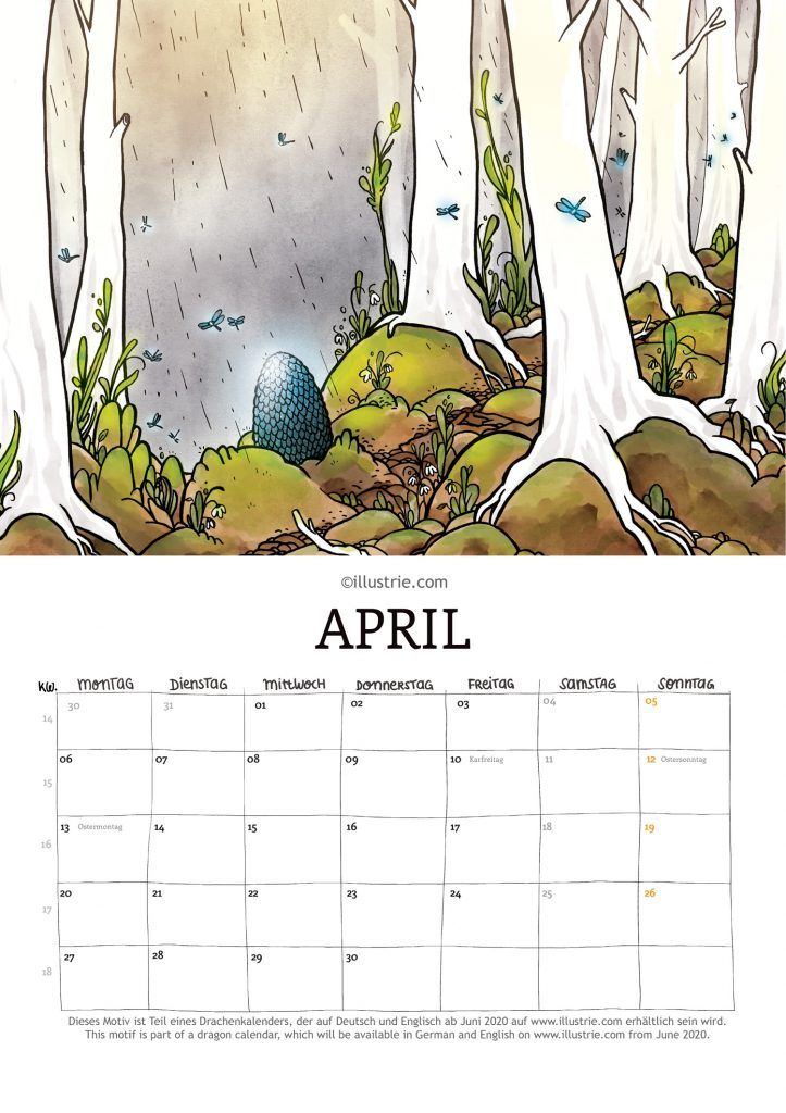 Illustration für einen Jahreskalender zum Thema Drachen für Fantasy- und Comicfans.