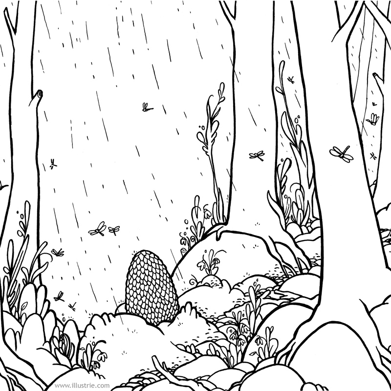 Ausmalbild // Coloring page . #drawing #coloring #coloringpage #illustration #art #dragon #fantasyart #drachenkalender #dragonfly #nerd #comicstyle #zeichnen #illustrator #inking #sketch #dessiner #egg #spring #frühling #wald #forrest #peaceful #meditative #dragonegg #mystic #nature #calmdown #ostern #easteregg #easter