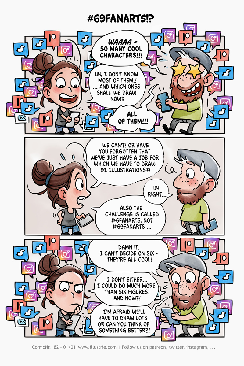 Autobiografischer Comic zur Auswahl der #sixFanArts-Challenge im funny Chibi-Style gezeichnet. // Autobiographical comic for the selection of the #sixFanArts-Challenge drawn in funny Chibi-Style.  . #sixfanarts #drawingchallenge #comic #diarycomic #illustration #autobiographic #autobiocomic #comicstyle #chibi #cute #funny #cartoonstyle #minime #chibime #voting #socialmedia #twitter #instagram #handy #mobile #decision #entscheidung