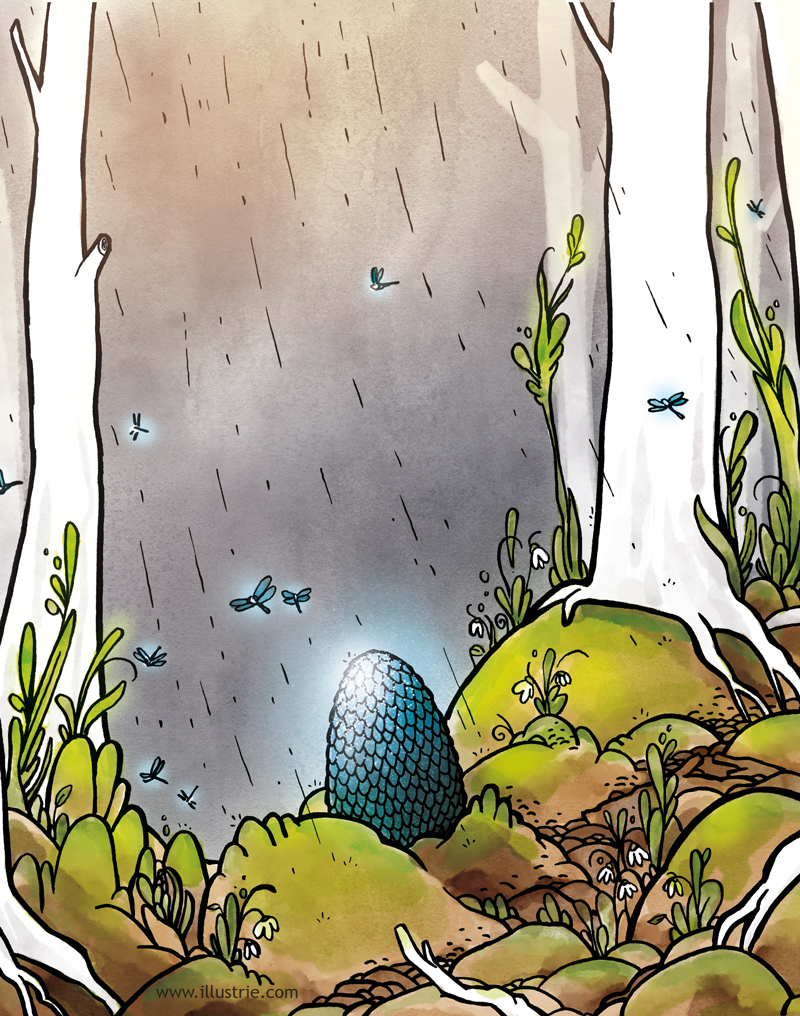 A dragon egg as Easter egg. // Ein Drachenei als Osterei, Fantasy-Illustration. . #illustration #art #comicstyle #nerd #comic #geek #digitalart #cartoonart #draw #drawing #sketch #artwork #zeichnung #zeichnen #dessiner #easter #ostern #coronaostern #springtime #easteregg #osterei #drachenei #dragonegg #fantasyart #conceptart #forrest #wald #stayhome #frühling #osterhase