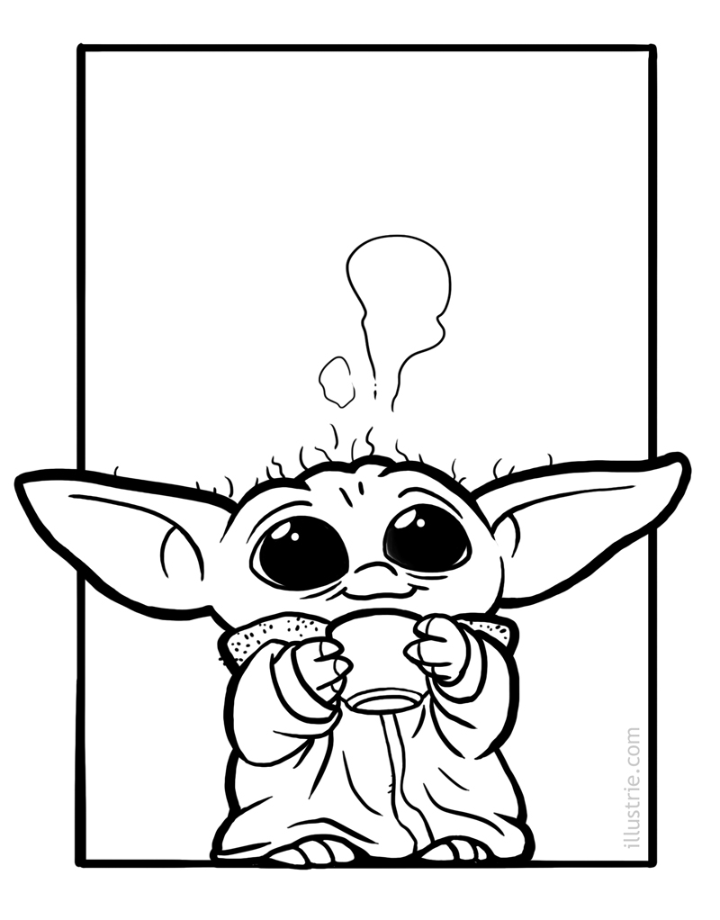 Star Wars Baby Yoda coloring page // Ausmalbild für Kinder // for Kids & Nerds. Download for free on www.illustrie.com  . #ausmalbild #coloringpage #kids #forkids #nerds #geek #zeichnen #malen #muttertag #mothersday #characterdesign #dessiner #coloring #sketch #drawing #sixfanarts #comicnerd #drawingchallenge #comicstyle #illustration #art #lineart #inking #schwarzweiß #blackandwhite #starwars #starwarsday #maythe4th #mandalorian #maythe4thbewithyou #yoda #babyyoda #cute #funny #chibi #kawaii