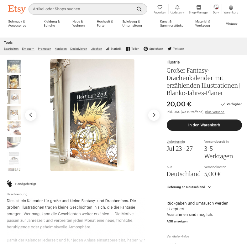 Etsy-Shop Ansicht by Illustrie | Drachenkalender . #onlineshop #etsy #handmade #dragon #calendar #Kalender #planer #Blankoplaner #shop #DINA3Kalender #Bildkalender #Terminkalender #Familienplaner #Drachen #dragoncalendar #art #handgezeichnet #selfpublishing #drachenkalender #fantasy #fantasyart #comicstyle #illustration