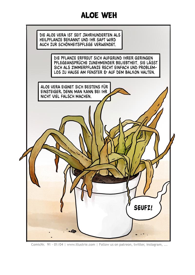 "Comic about gardening ""Aloe woe"" page 1 of 4 by Illustrie  . #plantlover #houseplants #aloevera #nature #plants #greenthumb #grünerdaumen #comic #art #illustration #drawing #sliceoflife #comicdiary #webtoons #comicpage #comictagebuch #sketch #doodle #dessiner #bandedessinée #zeichnen #fail #comicnerd #comedy #garden #flower #succulents #plantlife🌱 #cartoon #funny"