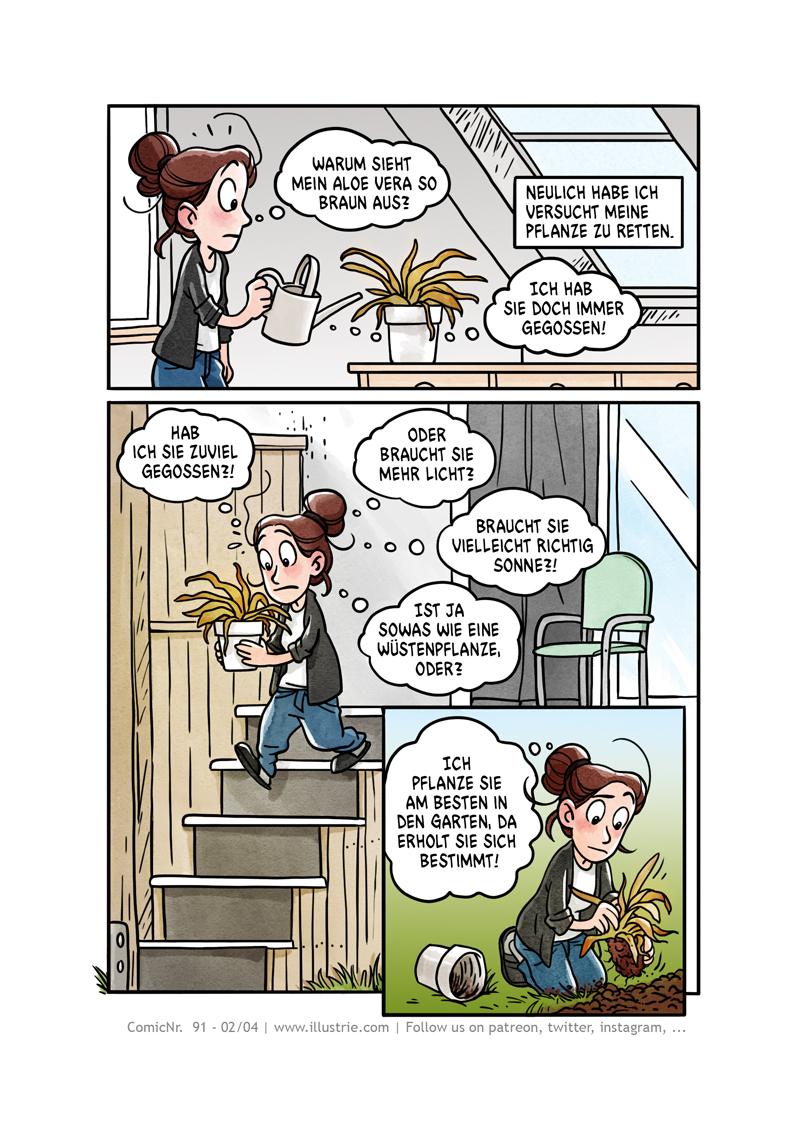 "Comic about gardening ""Aloe woe"" page 2 of 4 by Illustrie  . #plantlover #houseplants #aloevera #nature #plants #greenthumb #grünerdaumen #comic #art #illustration #drawing #sliceoflife #comicdiary #webtoons #comicpage #comictagebuch #sketch #doodle #dessiner #bandedessinée #zeichnen #fail #comicnerd #comedy #garden #flower #succulents #plantlife🌱 #cartoon #funny"