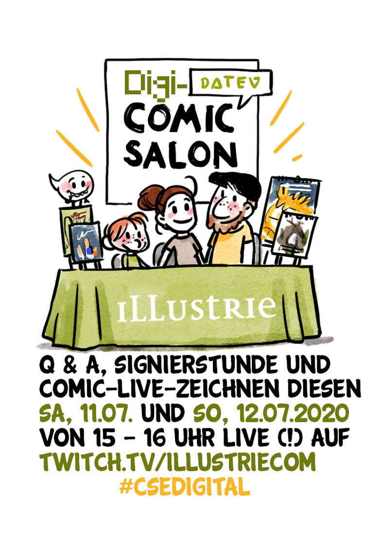 Kleine Illustration unseres Messestandes beim #csedigital 2020 | Signierstunde, Q&A und Comic-live-zeichnen . #comicfair #comiccon #comicsalon #cancelledbycorona #digitalercomicsalon #comicsalon #comicsalonerlangen2020 #illustrie #signierstunde #drawing #livedrawing #twitch #stream #video #zeichnen #team #comic #comicartist #art #illustration #messestand #booth #exhibition #ausstellung #bandedessinée #bd