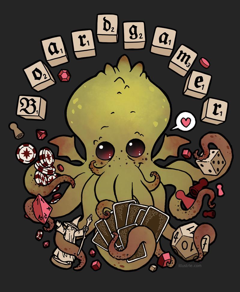Illustration für alle, die von Brettspielen besessen sind! // Illustration for boardgames  addicted fans! . chtulhu, boardgamer, boardgames, play, spiel, Brettspiel, Würfel, karten, funny, comic, games, poker, cards, dice, green, Gamer, Game, Demon, spielen, character, cartoonfigur, kawaii, cute, evil, cards, Spielfigur, Tentakel, Scrabble