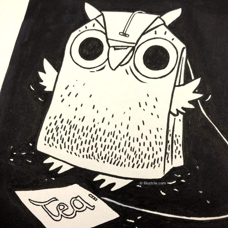 Analogue hand drawn illustration by Illustrie for the Inktober / charactober drawing challenge | tea bag + owl combined to a new characterdesign. This Illustration is available in our shop printed on T-Shirts, Mugs, Bags, etc. . #Illustration, #characterdesign, #art, #geek, #nerd, #comic, #comicstyle, #cartoon, #cartoonfigur, #Tee, #tea, #teabag, #Teebeutel, #Eule, #owl, #Uhu, #tealover, #funny, #cute, #niedlich, #kawaii, #zeichnen, #afternoontea, #vogel, #nacht, #night, #gutenacht, #nachtaktiv, #kauz, #drawing, #pen, #blackandwhite, #inking, #tuschezeichnung