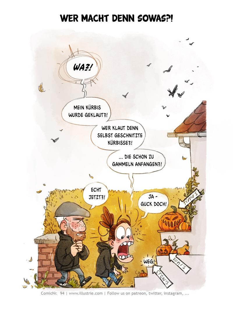 Autobiografische Comicseite (1/5) über den Diebstahl einen selbstgeschnitzten Kürbis, der schon zu gammeln anfing. . #drawing #illustration #art #nerd #comicstyle #comicnerd #geek #zeichnen #humor #sketch #dessiner #doodle #characterdesign #cartoonart #autobio #comic #sliceoflife #comicjournal #diary #webcomic #bandedessinée #manga #csedigital #pumpkin #halloween #decoration #kürbis #horrorcomic #funny #trickortreat #herbst #autumn #cute
