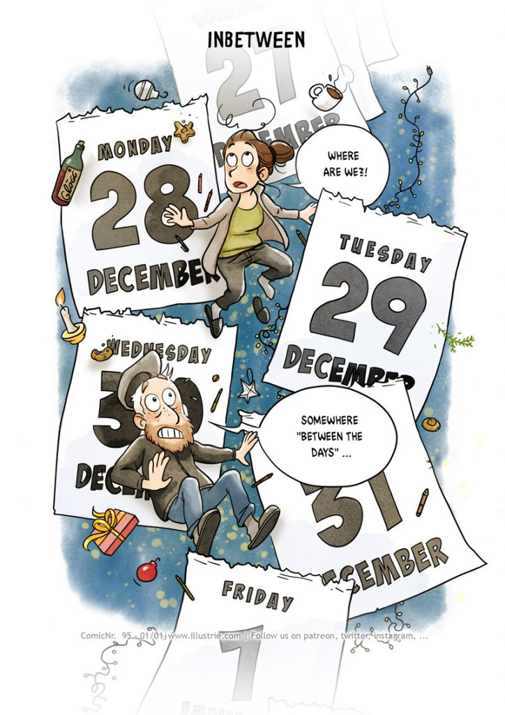 Autobiographical comic illustration by Illustrie about the feeling of hanging in the air at the turn of the year BETWEEN THE DAYS. Calendar pages fly around, in between the two main characters STEW and TIMO. In addition, Christmas objects are whizzing around, such as candles, fairy lights, mulled wine, teacups, biscuits, presents, Christmas tree decorations, fir branches, etc. The background is midnight blue interspersed with yellow light dots. #comic #bandedessinnée #happynewyear #year change #calendar #time #timejourneys #gutenRutsch #atyearend #holidays #Christmasholidays #cartoon #humour #funny #mood #tear-off calendar #December #endofmonth #betweendays #inbetween