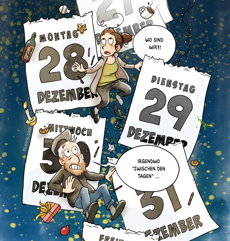 Autobiografische Comic-Illustration by Illustrie über das Gefühl am Jahreswechsel ZWISCHEN DEN TAGEN in der Luft zu hängen. Kalenderblätter fliegen  umher, dazwischen die beiden Hauptfiguren STEW und TIMO. Dazu schwirren Weihnachts-Gegenstände umher, wie Kerzen, Lichterketten, Glühwein, Teetassen, Kekse, Geschenke, Christbaumschmuck, Tannenzweige, usw. Der Hintergrund ist nachtblau mit gelben Lichtpunkten durchsetzt. #comic #bandedessinnée #frohesneuesJahr #Jahreswechsel #kalender #Zeit #Zeitreisen #gutenRutsch #zumJahresende #Feiertage #Weihnachtsferien #Cartoon #Humor #lustig #Stimmung #Abreißkalender #Dezember #Monatsende #zwischendenTagen #dazwischen
