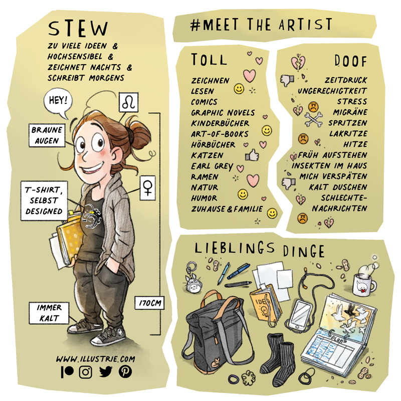 #MeetTheArtist - visueller Steckbrief by Illustrie über Stew . Gezeichnetes Ganzkörper-Selbstportrait mit kleinen Infokästen be-igelt(z.B. Sternzeichen, Augenfarbe, Größe, Geschlecht, etc.) + einer schriftlichen Liste, was die Künstler lieben (z.B. Hobbies, Lieblingsgericht, Eigenschaften) und hassen (Unangenehmes) + eine gezeichnete Sammlung von (Lieblings-)Dingen, die man oft benutzt (z.B. Rucksack, Skizzenbücher, technische Geräte, Snacks, usw.) . #selfie, #selfportait, #fjällraven, #rucksack, #planer, #sketchbook, #skizzenbuch, #T-shirt-Design, #lieblingstasse, #iPhone, #totorro, #schlüsselanhänger, #keychain, #characterdesign, #comicfigur, #comiccharacter, #favouritethings, #lieblingssachen, #profile, #steckbrief