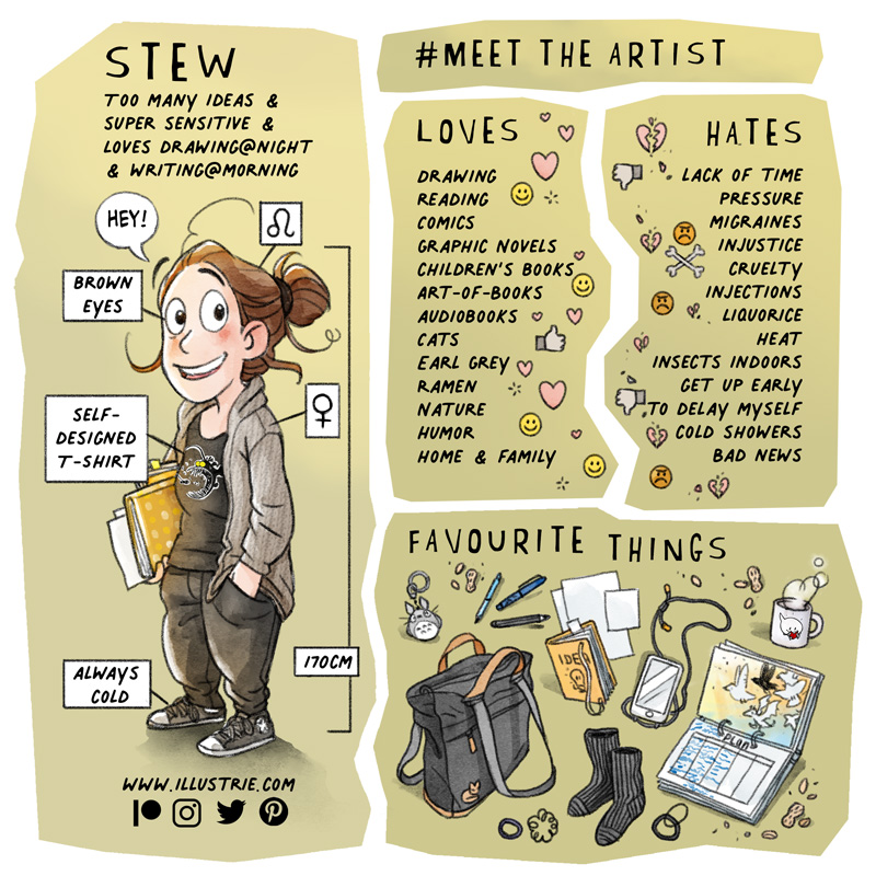 #MeetTheArtist - visual profile by Illustrie about Stew . Drawn full-body self-portrait with small info boxes attached (e.g. star sign, eye colour, height, gender, etc.) + a written list of what the artist loves (e.g. hobbies, favourite food, features) and hates (dislikes) + a drawn collection of (favourite) things used often (e.g. backpack, sketchbooks, tech gadgets, snacks, etc.) . #selfie, #selfportait, #fjällraven, #backpack, #planner, #sketchbook, #sketchbook, #T-shirt design, #favourite mug, #iPhone, #totorro, #keychain, #characterdesign, #comiccharacter,  #favouritethings, #favourites, #profile,