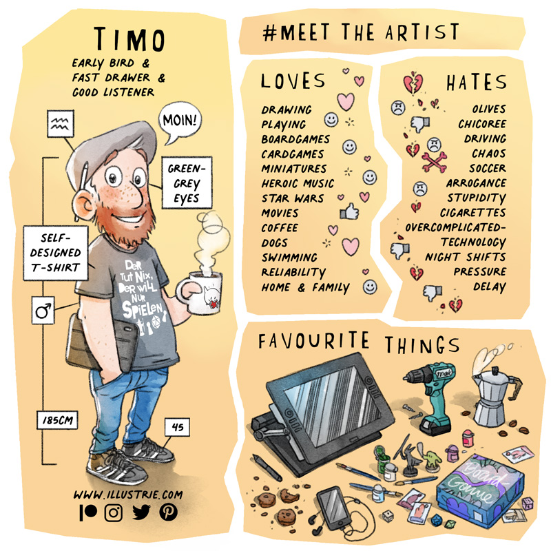 #MeetTheArtist - visual profile by Illustrie about Timo . Drawn full-body self-portrait with small info boxes attached (e.g. star sign, eye colour, height, gender, etc.) + a written list of what the artist loves (e.g. hobbies, favourite food, features) and hates (dislikes) + a drawn collection of (favourite) things used often (e.g. backpack, sketchbooks, tech gadgets, snacks, etc.) . #selfie, #selfportait, #fjällraven, #backpack, #planner, #sketchbook, #sketchbook, #T-shirt design, #favourite mug, #iPhone, #totorro, #keychain, #characterdesign, #comiccharacter,  #favouritethings, #favourites, #profile,