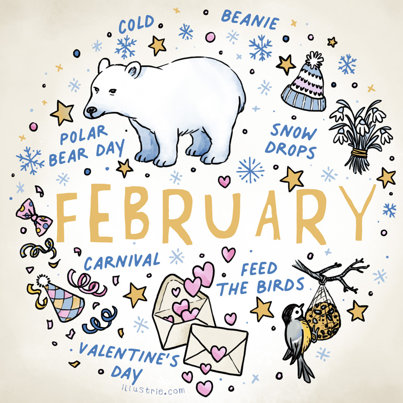 Calendar Illustration - February Cover for Bullet Journals by Illustrie.com . A collection of mini sketchnote style illustrations / illustrated list of things that might happen during February. #illustration #art #howtodraw #drawing #graphicrecording #sketch #doodle #calendar #monthly #bulletdiary #journal #planner #cute #winter #itscoldoutside #cold #winterwonderland #snow #valentinesday #bird #tit #titdumpling #bird #carnival #polarbear #cold #cap #beanie #snowdrops #snowflake #propdesign #inking #comicstyle #characterdesign #cuteanimals #drawinganimals #winterishere #confetti