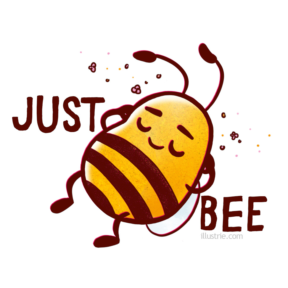 Just Bee, simply switch off and relax after work, enjoy a mindful break or a calming meditation | Designed for T-Shirts,Mugs, Sticker etc. by illustrie.com  . Cartoon character, illustration, yellow, happy, animal, bee, art, positive vibes, funny, humour, cute, kawaii, meditation, positivity, relaxation, end of work, keep calm, weekend, rest, sleep, chill, hang out, yoga, break, holidays, relax, selfcare, me-time, simplicity, mindfulness, wellness, care, lie down, switch off