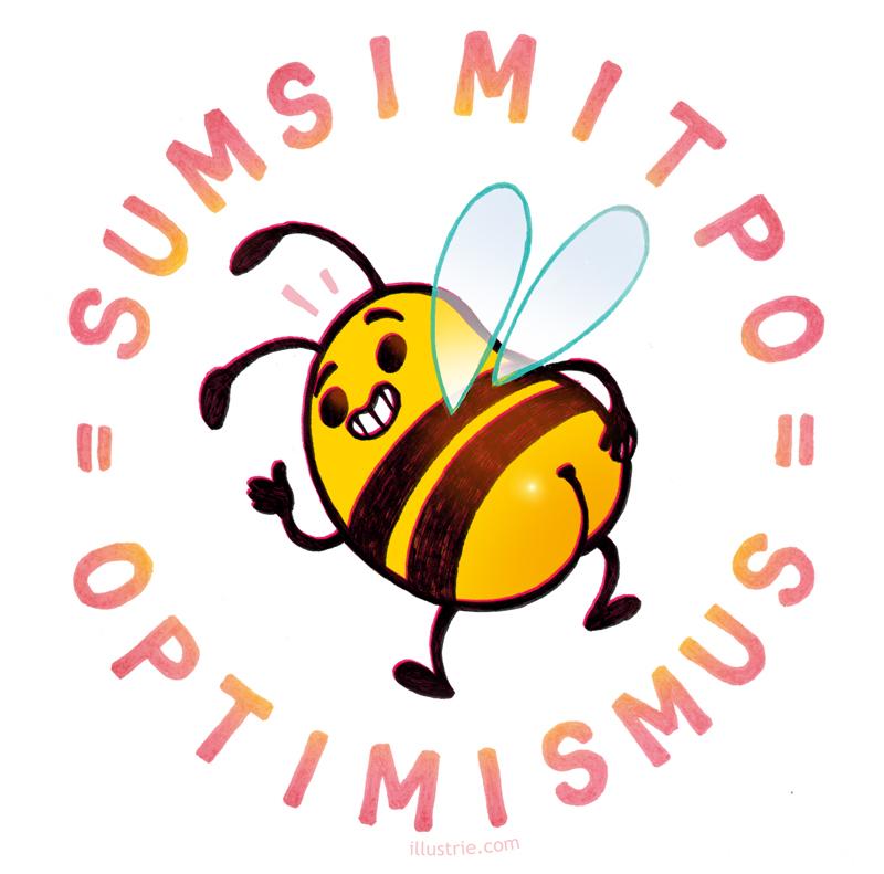 Optimismus rückwärts = Sumsi mit Po – Wortwitz-Illustration / witzige Characterdesign-Zeichnung einer Biene mit nacktem Po. Gegen Langeweile, Lockdown-Blues und Corona-Frust! | By Illustrie.com - Ideen, Comics & Geschenke, die gute Laune machen! Check our webshop :) . funny, gag, lol, positivity, happiness, good vibes, humor, optimism, bee, cute, stripes,  yellow, bottom, butt, insect, happy, Characterdesign, Cartoon, Comicfigur, Illustration, Gelb, fröhlich, Tier, Biene, positiv, lustig, witzig, Humor, niedlich, Popo, süß, Insekt, gestreift, gute Laune, Optimismus, Sumsimitpo, Witz, Stimmungsaufheller, Wortwitz, Wortspiel, Hintern, Antidepressivum