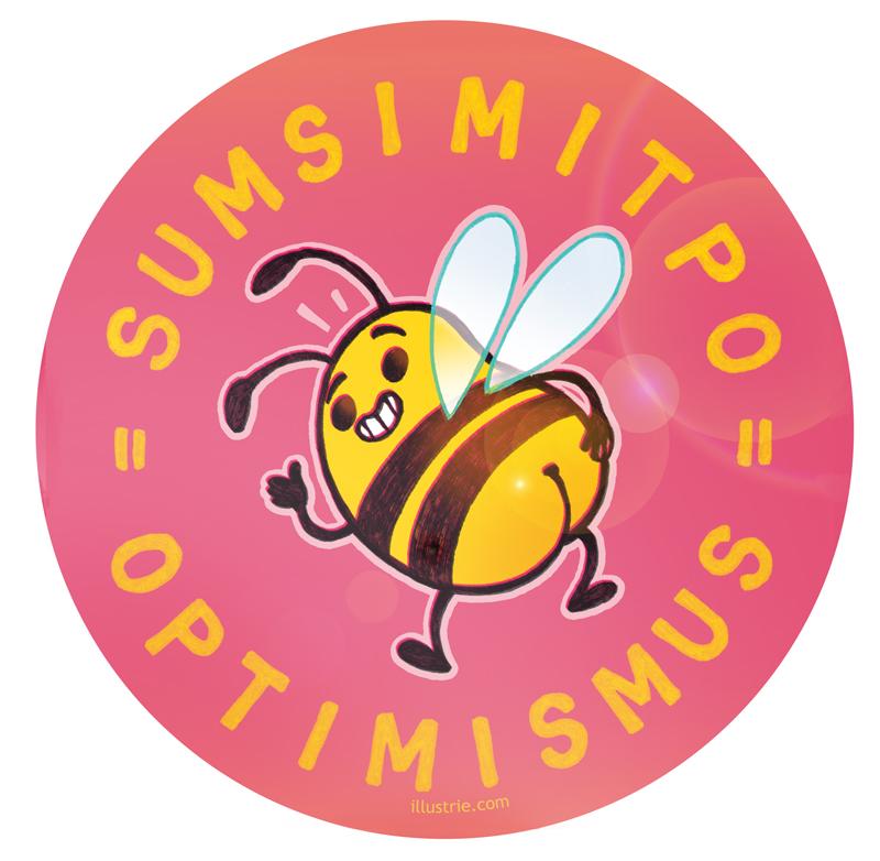 Optimismus rückwärts = Sumsi mit Po – Wortwitz-Illustration / witzige Characterdesign-Zeichnung einer Biene mit nacktem Po. Gegen Langeweile, Lockdown-Blues und Corona-Frust! | By Illustrie.com - Ideen, Comics & Geschenke, die gute Laune machen! Check our webshop :) . funny, gag, lol, positivity, happiness, good vibes, humor, optimism, bee, cute, stripes,  yellow, bottom, butt, insect, happy, Characterdesign, Cartoon, Comicfigur, Illustration, Gelb, fröhlich, Tier, #bee, #Biene, positiv, lustig, witzig, Humor, niedlich, Popo, süß, Insekt, gestreift, gute Laune, Optimismus, Sumsimitpo, Witz, Stimmungsaufheller, Wortwitz, Wortspiel, Hintern, Antidepressivum