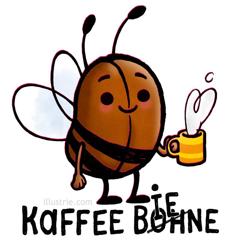 Von der Kaffeebohne zur Kaffeebiene: Characterdesign gezeichnet by Illustrie für alle Kaffeefans & Bienenfreunde für den kreativen Schluck Motivation am Morgen. Design erhältlich auf Becher, T-Shirts u.a. Geschenken in unserem Spreadshirt-Shop! . Kaffee, Kaffeebohne, Frühstück, Kaffeepause, Becher, Biene, Illustration, lustig, Humor, Motivation, Characterdesign, Art, fleißig, kreativ, Guten Morgen, fröhlich, gute Laune, Wortspiel, Witz, Kaffeeliebhaber, Gourmet, Imker, Kaffeegenuss, niedlich, coffee, coffee bean, coffee break, mug, yummy, bee, illustration, funny, kawaii, humor, motivation, character design, breakfast, hardworking, creative, good morning, cheerful, good mood, morning person, gag, joke, food, beekeeper, coffee lovers,  food blogger, happy