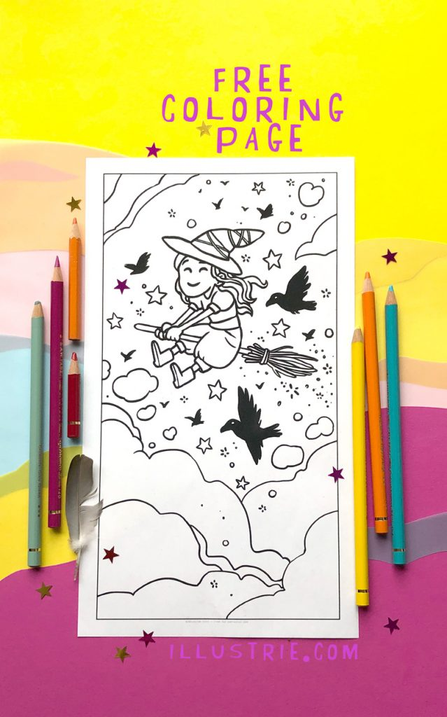 Coloring witch / Ausmal-Hexe / Printable for free / for personal use / Gratis-Ausmabild-Download - coloring page by Illustrie.com . drawing, coloring, illustration, art, gift, colorful, blackandwhite, witch, witchcraft, walpurgisnight, raven, cute, kawaii, sky, magic, wizard, broomstick, stars, clouds, fly, dream, fantasyart, fantasy, characterdesign, night, creatureofthenight, lockdown, lockdown activities, pandemic, homeschooling, stayhome, Hexe, Ausmalbild, gratis, Blocksberg, Walpurgisnacht, Hexenfeuer, Himmel, fliegen, Besen, Zauberei, zuhause, Beschäftigung für Kinder, Raben, Sterne, Wolken, Buntstift, Farben, zeichnen, malen, bunt, niedlich,