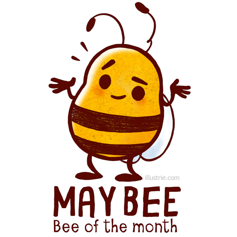 MayBee - Bee of the month May, funny characterdesign illustration an seasonal joke for beelovers drawn by Illustrie   . bee, illustration, funny, kawaii, humor, art, lol, joke, insect, cartoon, comic, creaturedesign, beekeeper, maybe, perhaps, yellow, stripes, playonwords, pun, irresolute, niedlich, Biene, Insekt, Imker, vielleicht, Wortspiel, WeißNicht, witzig, meme, Gag, Mai, Monat, cuteanimals, animal, Tiere, nature,