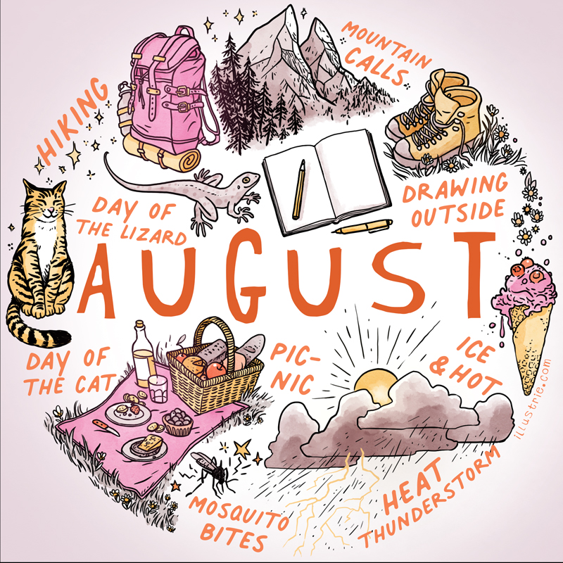 August illustration for bullet journals & calendars - illustrated sketchnote style list of summer activities and holidays by Illustrie.com . August, bulletdiary, BuJo, art, illustration, design, drawing, sketchnote, graphic recording, month, calendar, planner, calendar page, title page, appointments, family calendar, year planner, diary, journal, season, season, drawing, summer holidays, holiday, summer, mountains calling, hiking, cat day, lizard day, sketchbook, picnic, heat storm, ice cream cone, mosquito bite, sun, hiking boots, trekking shoes, cat, reptile