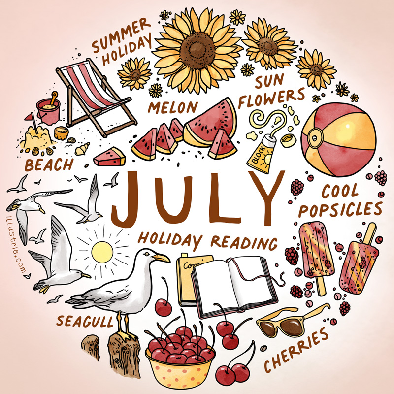 July bullet journal calendar page - illustrated list consisting of many little illustrations of things we may encounter this month   Designed by illustrie.com  July, bulletdiary, BuJo, art, illustration, design, drawing, sketchnote, graphic recording, month, calendar, planner, calendar page, title page, appointments, family calendar, year planner, diary, journal, season, drawing, summer, holiday, beach, sandcastle, seagull, melon, sun, sunflowers, sunscreen, deck chair, beach ball, homemade ice cream, holiday reading, sunglasses, cherries, homemade popsicles, red, yellow, heat wave, warm, hot
