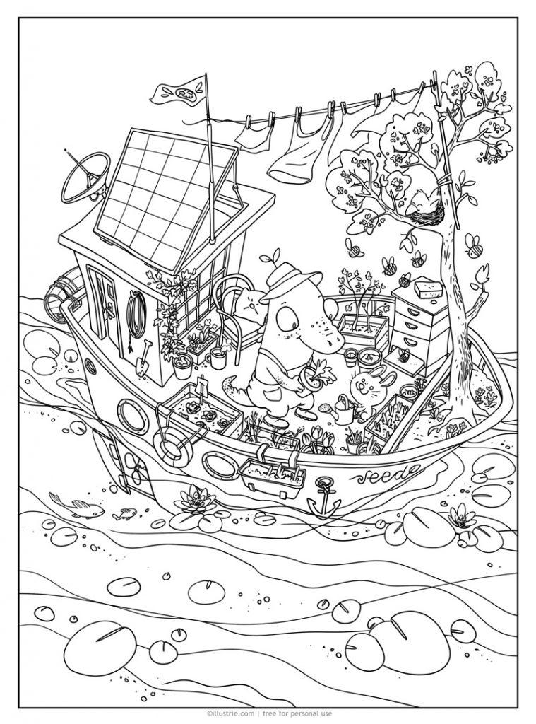 Hausboot Ausmalbild - gratis zum privaten Gebrauch. Illustration by ©illustrie.com  schwimmender Garten, Aligator, Krokodil, Gärtner, Hase, Kaninchen, niedlich, Bienen, Bienenstock, öko, bio, umweltfreundlich, Solar, klimafreundlich, grün, ausmalen, kreativ, bunt, fröhlich, für Kinder, Hochbeet, Blumenkasten, Salat, Pflanzen, Gießkanne, Seerosen, See, Wasser, Wäscheleine, Boot, Schiff, gemütlich, zuhause, Heim, gärtnern, Tiere, Characterdesign, Blumen, zeichnen, Meer, draußen, Abenteuer, Selbstversorger, Schrebergarten