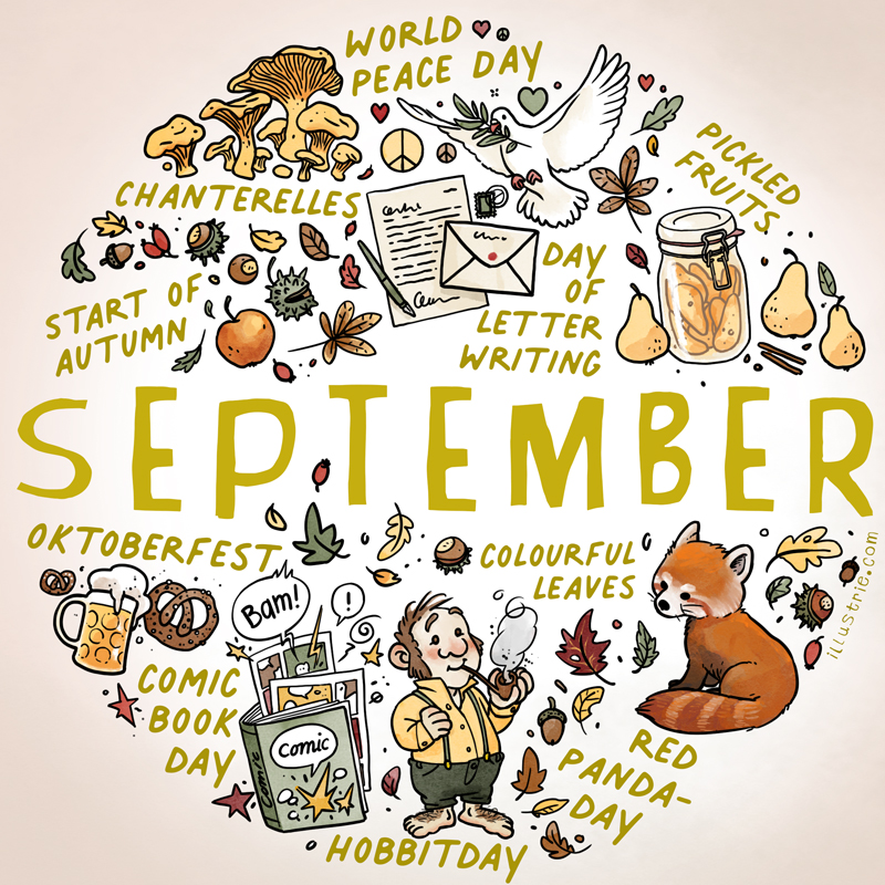 September illustration for bullet journals & calendars - illustrated sketchnote style list of autumn activities and holidays by Illustrie.com . September, bulletdiary, BuJo, art, illustration, design, drawing, sketchnote, graphic recording, month, calendar, planner, calendar page, title page, dates, family calendar, year planner, diary, journal, season, seasonal, drawing, beginning of autumn, dove of peace, pears, apple, leaves, chestnuts, rosehips, letter writing, chanterelles, peace signs, hearts, pickling, hobbit day, Bilbo, Frodo, Baggins, red panda, october festival, comic book day, pretzels, beer, acorns, Indian summer, golden autumn, hobbits